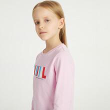 京东超市 安奈儿童装男童女童春装圆领长袖T恤2021年字母印花上衣可打底外穿 甜梦粉