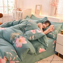 格瑞雅居 床上四件套全棉磨毛床上用品纯棉床单被套枕套 幸福动力.绿 1.35-1.5米床通用-被套180*220cm