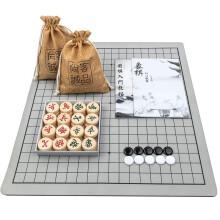 京东超市 尚客诚品围棋 乳白玉色围棋双面凸马可铁盒精装 围棋套装 亚麻袋皮革棋盘