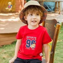 精典泰迪 Classic Teddy 儿童短袖T恤男童女童上衣宝宝外出服半袖童装夏季T恤C 96熊D-大红 100