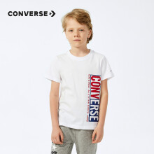 京东超市 Converse匡威童装2020年夏季款男童短袖T恤大小童 纯白色 110S(4)