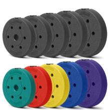 虹博实重足重包胶哑铃片  环保杠铃片 2.8-3.0通用片  健身器材 2.5斤*2片(黑色1.25KG*2)