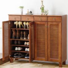 家逸实木四门鞋柜简约现代门厅柜多层鞋架储物柜大容量鞋柜 方腿棕色