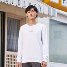 乔丹 男装针织上衣运动T恤简约时尚 XWD33201326A 黑色 XL 款1326A-白色