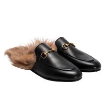 古驰(GUCCI)女士Princetown系列羔羊毛衬里拖鞋 397749 DKHH0 1063 36.5
