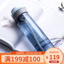 京东超市 乐扣乐扣 水杯大容量运动水壶学生塑料水杯子成人吸管杯男女士健身运动杯创意茶杯便携水瓶 750ml 蓝色
