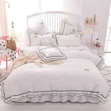 格瑞雅居  床上四件套纯棉全棉床上用品韩版小毛球公主风床裙被套枕套 白色 1.8*2米床裙--被套200*230cm