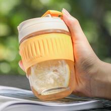 京东超市 乐扣乐扣(LOCK&LOCK)咖啡杯手持玻璃杯男女学生便携式吸管杯随手茶水杯子350ML绿色 LLG689DGRN 黄色350ML