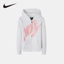 Nike 耐克女童连帽卫衣秋季儿童加绒外套女孩上衣4-5岁110/56棉花糖小童