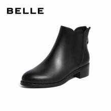 BELLE/百丽牛皮革/织物女切尔西皮短靴U5Q1DDD9 黑色 35