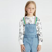 安奈儿x迪士尼疯狂动物城联名男童女童春装卫衣圆领长袖2021年上衣打底外穿 白黑花