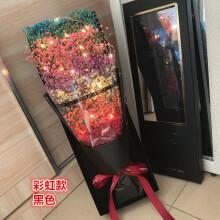 网红ins花束永生花满天星干花束天然女友生日礼物圣诞情人节毕业 串灯 彩色款 大礼盒纯满天星黑 干花包