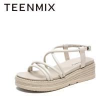 Teenmix/天美意时尚简约编织底女凉鞋CT101BL0 米色 34
