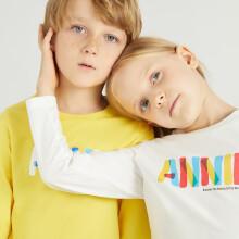 京东超市 安奈儿童装男童女童春装圆领长袖T恤2021年字母印花上衣可打底外穿 若草黄