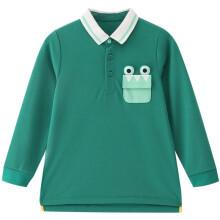 京东超市 安奈儿童装男童春装长袖T恤2021年男小童宝宝撞色口袋翻领polo衫 森海绿
