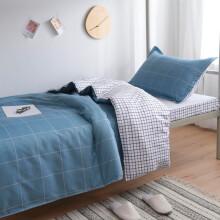 喜寝来家纺 床上三件套 学生宿舍床单被单被套被罩单人1.2米床三件套床上用品 简格风情 0.9-1.2米宿舍三件套被套150x200cm