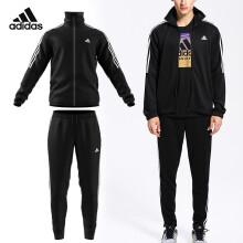 阿迪达斯adidas 运动服套装男款羽毛球服休闲运动裤健身服篮球服套装 BK4087 黑色 XXL码