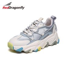 红蜻蜓(REDDRAGONFLY)女鞋老爹鞋女休闲鞋ins潮鞋百搭厚底运动鞋 WTB111691/92 浅蓝 37