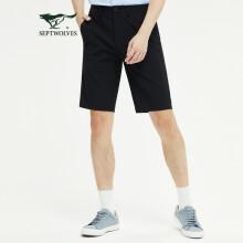 七匹狼短裤男士2021时尚简约净色舒适弹力休闲裤子1D1B30404616 001(黑色) 34A