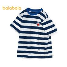 京东超市巴拉巴拉【哆啦A梦IP】童装儿童t恤2021新款夏装男女童条纹中大童208221117123蓝白色调150