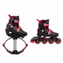 捷豹溜冰鞋两用跳跃鞋青少年弹跳鞋儿童助跳鞋小孩子跳高小朋友男弹簧鞋轮滑鞋小学生跳高鞋5 6 7 8岁 黑红弹跳鞋+轮滑(L大码) 适合 平时37-40码 50KG-70KG