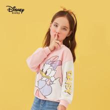 京东超市迪士尼 Disney 童装儿童卫衣休闲女童针织撞色圆领上衣宝宝卡通打底衫 2021春 DB111EE01 桃粉 110