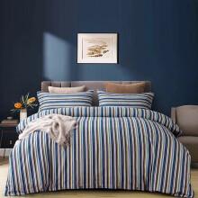 黄河口老粗布床上四件套长绒棉 加厚条纹床单被套四件套 家纺床上用品老粗布四件套 1.8米床上四件套 英伦蓝 1.8/2.0米床四件套(被套200*230)