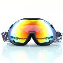 BASTO邦士度 儿童滑雪镜 进口防雾防紫外线 双层球面大镜片 SG1104砂黑-蓝 磨砂黑
