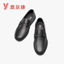 意尔康男鞋简约豆豆鞋一脚蹬乐福鞋平底舒适休闲皮鞋男 1112ZR97654W 黑色 40