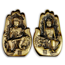 【喜腾腾】中国佛像铜章-普贤菩萨 文殊菩萨一对 金币总公司 异形硫化工艺 单套