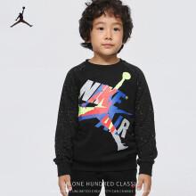 京东超市Nike Air Jordan 耐克童装男童卫衣春新款儿童卫衣男孩上衣3-4岁110/52正黑色小童