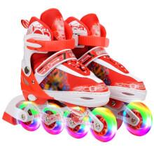乐士 溜冰鞋套装 儿童滑冰鞋旱冰鞋八轮全闪可调节大小 热情红 M