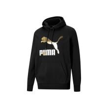 彪马 PUMA 男子 生活系列 Classics Logo Hoodie TR 针织卫衣 531370 01 黑色-金色 亚洲码 L 180/100A