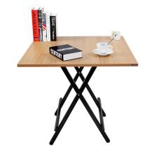 尼德 可折叠餐桌 小户型家用简易4人吃饭桌小方桌 便携式户外摆摊 正方形学习桌子 AC6BB 80*80柚木面黑腿