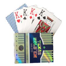 德州扑克牌土豪金大字扑克牌 PVC金边防水磨砂塑料扑克牌 777蓝色牌背一付