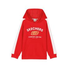 Skechers斯凯奇童装男童针织连帽套头卫衣外套 L121B071 001W赛车红 XL 140