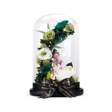 野兽派同款中意礼永生花独角兽玻璃罩送女生生日摆件情人节礼物盒礼品真花玫瑰花束 花仙子-加大款绿色(带灯)