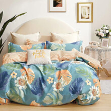 圣宝莱全棉四件套纯棉斜纹四件套床上用品花卉条纹北欧风四件套1.5 1.8米床 惜-绿 1.5米/1.8米床(被套200x230cm)