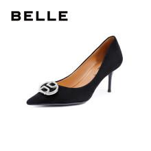 BELLE/百丽羊绒皮革女皮鞋U9N1DAQ0 黑色 34