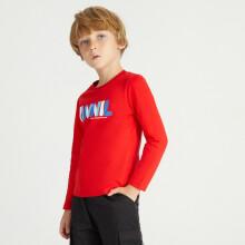 安奈儿童装男童女童春装圆领长袖T恤2021年字母印花上衣可打底外穿
