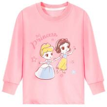 京东超市 迪士尼儿童卫衣春秋薄款女童长袖公主圆领T恤棉宝宝宽松打底衫 SP98074 粉色 120cm