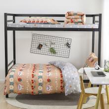 清茉 床单三件套纯棉 1.2m床高低床上用品 1.35米学生宿舍单人被套女生被罩 全棉床品套件 樱桃太郎 0.9-1.35米床 单人床通用