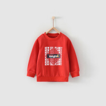 童泰 春秋款婴儿衣服1-4岁男女宝宝外出休闲时尚套头卫衣上衣 T11Q3872 红色 90