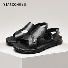 意尔康男鞋海边度假休闲凉鞋男露趾透气两穿简约时尚沙滩鞋 1342ZS97855W 黑色 40