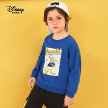 京东超市迪士尼 Disney 童装儿童男童针织卡通圆领卫衣可爱印花套头衫简约宝长袖上衣 2021春 DB121AA63 炫目蓝色 130