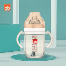 京东超市gb好孩子 婴儿奶瓶 新生儿 婴幼儿 宽口径握把吸管PPSU奶瓶 仿母乳质感 铂金系列 240ml 藕粉