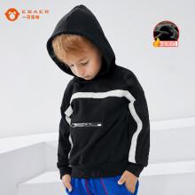 一贝皇城EBAER 男童加绒卫衣冬装新款儿童加厚上衣中大童秋冬连帽外套 黑色 120