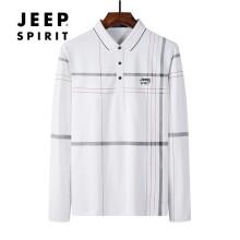 吉普JEEP polo衫男长袖T恤男中青年2021春季翻领男士男装上衣 JHX2839 白色 2XL