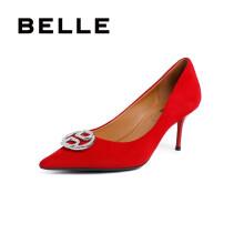 BELLE/百丽羊绒皮革女皮鞋U9N1DAQ0 红色 34
