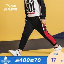 京东超市 安踏(ANTA)儿童童装男小童春季棉质针织运动长裤A35039710梦幻黑-4/130